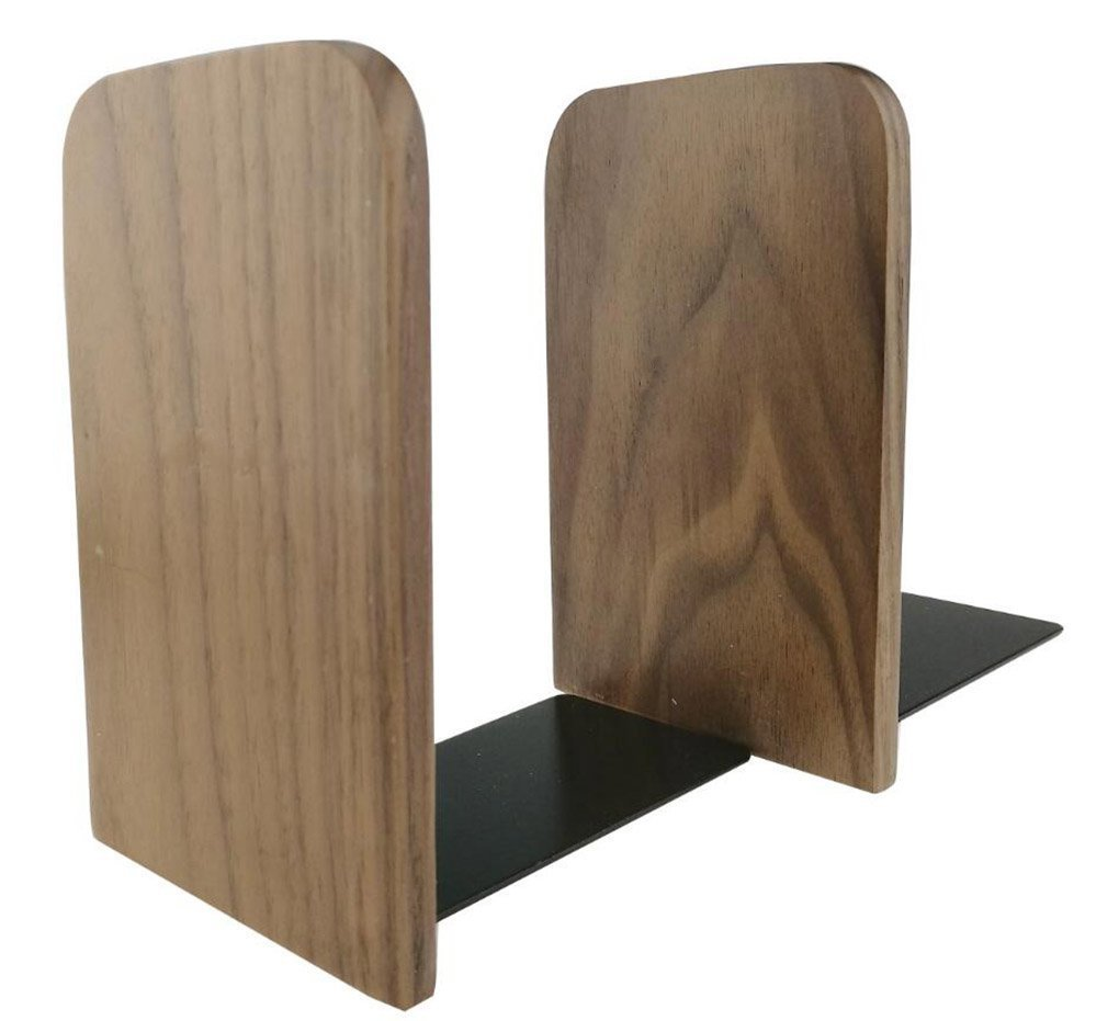 Winterworm Simple Nature Japanese Style Black Walnut Wood Bookends Book Ends For Home Office Library School Study Decoration Gift (large square)