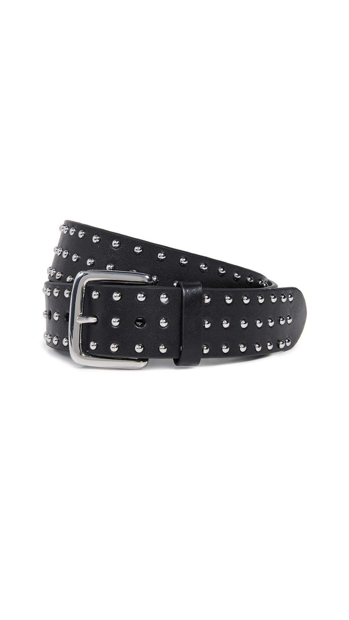 FRAME Women's Studded Leather Belt, Noir, Black, Small