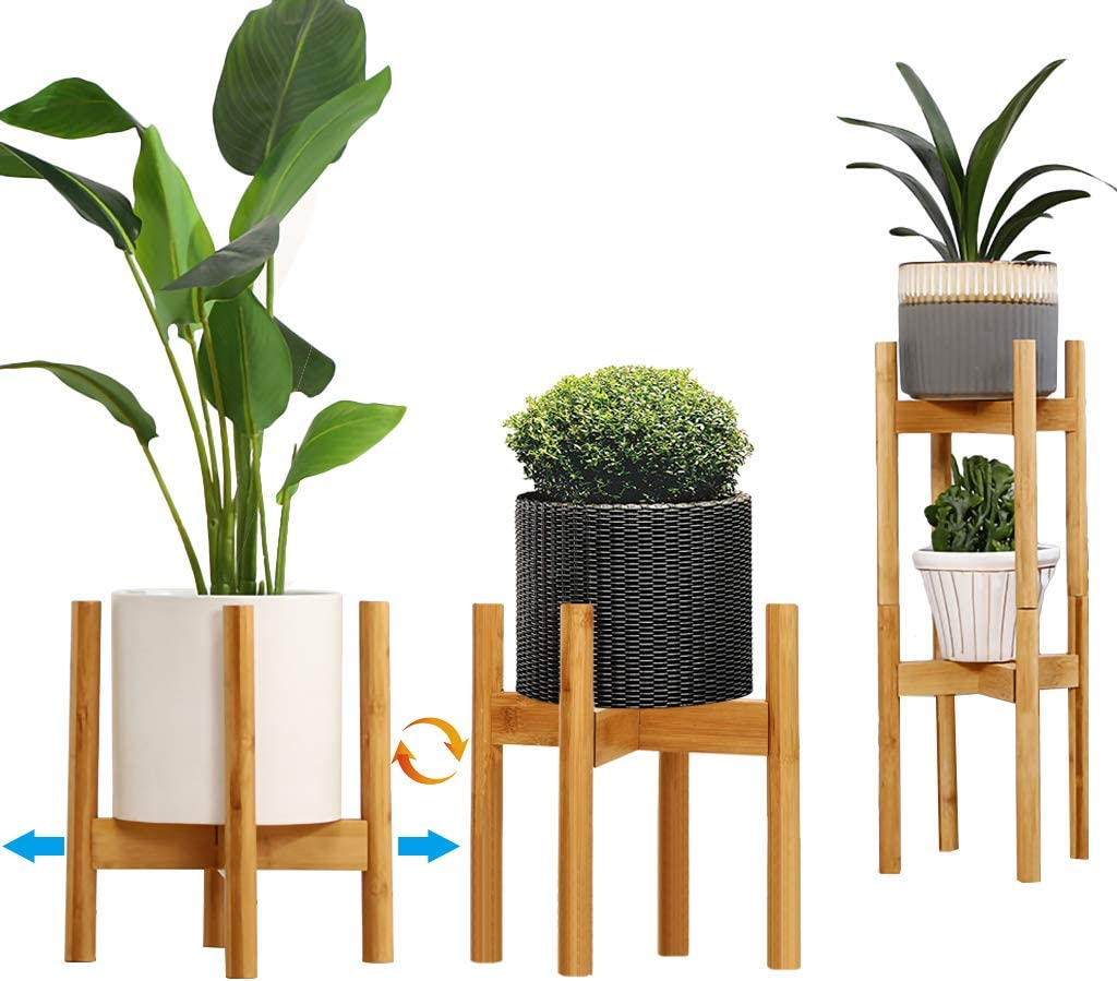 "GKanMore Plant Stand 8"" to 12"" Adjustable Mid Century Modern Plant Pot Holder Bamboo Planter Stand Flower Pot Holder Display Rack for Indoor Outdoor Planters and Home Decor (2 Pack, Stackable)"