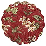 """Unique & Custom {17'' Inch} Single Pack of Round """"Non-Slip Grip Texture"""" Large Reversible Table Placemat Made of Washable 100% Cotton w/ Quilted Rustic Lily Country Design [Colorful Red & Tan]"""