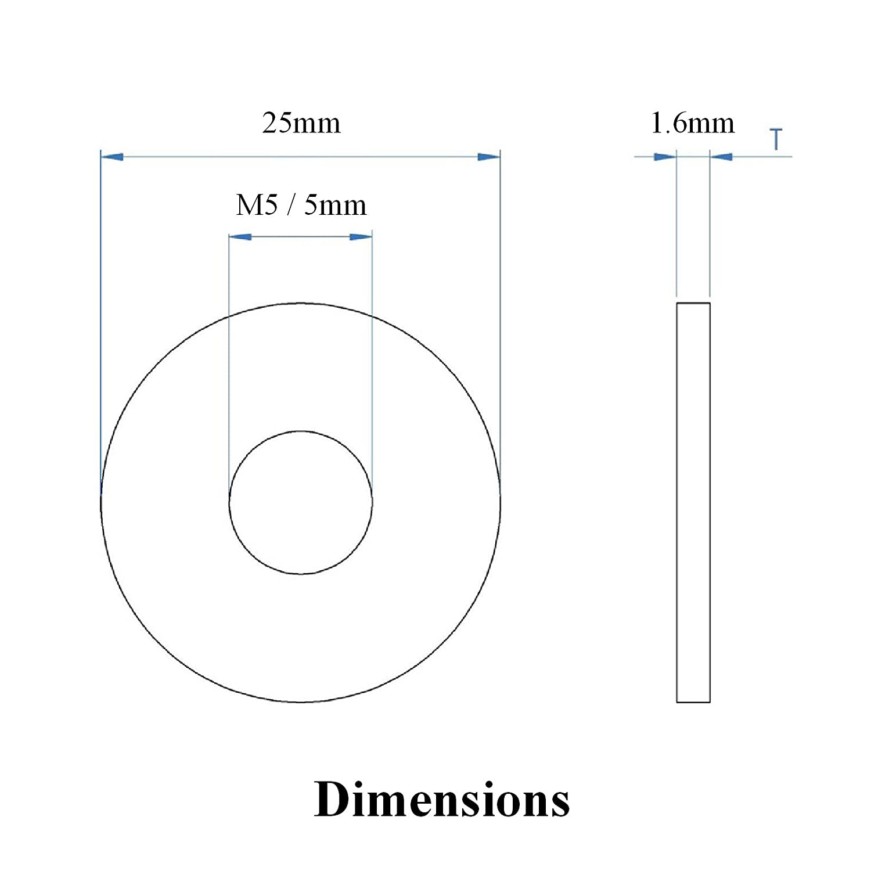 100 x Unterlegscheiben aus Stahl f/ür 4.8mm Blindnieten Blindnieten M5 x 25mm Hell Verzinkt