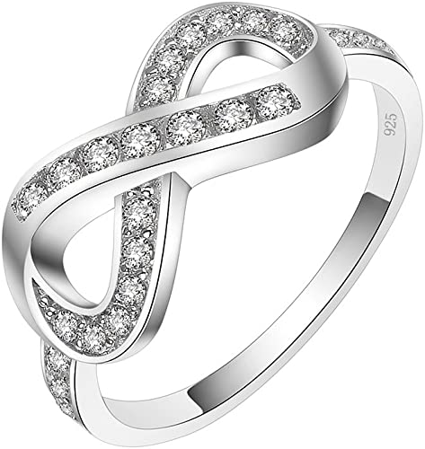 Black Sterling Silver 925 Infinity Ring with Black Round Cut Cubic Zirconia Size