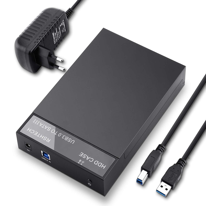 RSHTECH Boitier Disque Dur 3.5 USB 3.0 pour 3.5 Pouces SATA III II I HDD SSD UASP Compatible 8To Disque Dur Externe Noir