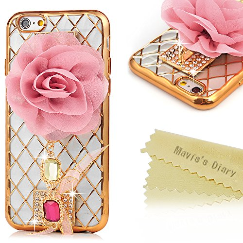 "Price comparison product image iPhone 6S Plus Case,iPhone 6 Plus Case (5.5"") - Mavis's Diary Soft TPU Plating Diamonds Lattice 3D Shiny Sparkling Crystal Clear Transparent Silicone Bumper Electroplated Cover with Rose Flower - Pink"