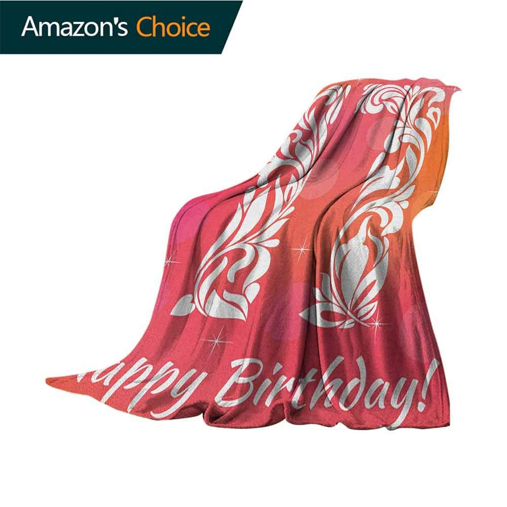 17th Birthday Flannel Blanket,Floral Leaves Swirls Seventeen Number with an Abstract Background Colorful   Home,Couch,Outdoor,Travel Use,50'' Wx70 L Orange and Hot Pink