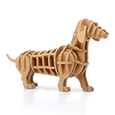 JIGZLE 3D Paper Puzzle Dachshund - Laser Cut Miniature Animals DIY Kit