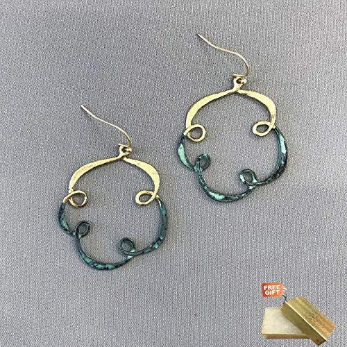 Unique Antique Gold Patina Swirl Hoop Design Dangle Designer Inspired Earrings For Women Set + Gold Cotton Filled Gift Box