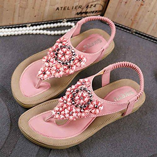 HARRYSTORE 2017 Moda de las mujeres dulces rebordeados Flats Clip Toe Flats Bohemio Herringbone Sandalias Beach Shoes Rosado