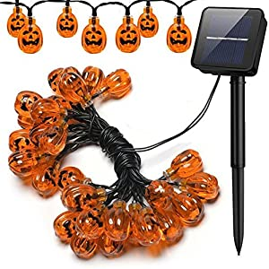 Halloween Pumpkin String Lights, PUAO Waterproof Solar Festive Fairy Jack Lights Decoration,30/50 LED Lights 8 Flickering Modes Jack-O-Lantern for Outdoor, Home, Patio, Garden
