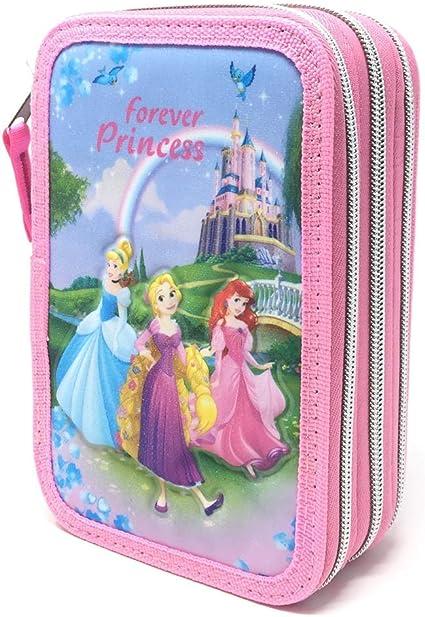 Estuche Giotto 3 cremalleras Princesas Disney Niñas: Amazon.es: Oficina y papelería