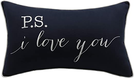 Yugtex P S I Love You Embroidered Lumbar Accent Throw Pillow Cover 12x20 Navy Blue Home Kitchen
