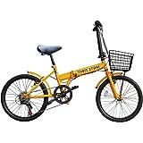 折りたたみ自転車 20インチ ノーパンクタイヤ AJ-05 シマノ社製外装6段ギア搭載/ワイヤー錠/前後泥除け/前カゴ/PL保険