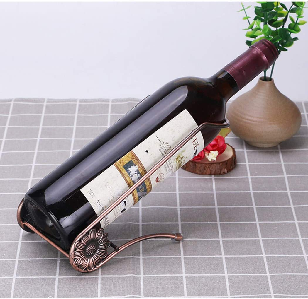 Fantasee Stainless Steel Single Bottle Holder Tabletop Wine Rack Novelty Gift for Kitchen Home Decor (L Style, Bronze)