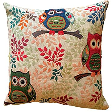 That's Perfect! Colorful Owls Decorative Throw Pillow Sham - Fits 18  x 18  Insert (Summer Trio)