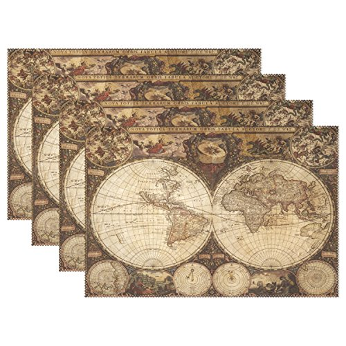 Custom Old Vintage World Map Heat-Resistant Table Placemats Set of 4 Anti-Skid Table Mats Washable Eat Mat Home Dinner Decorative ()