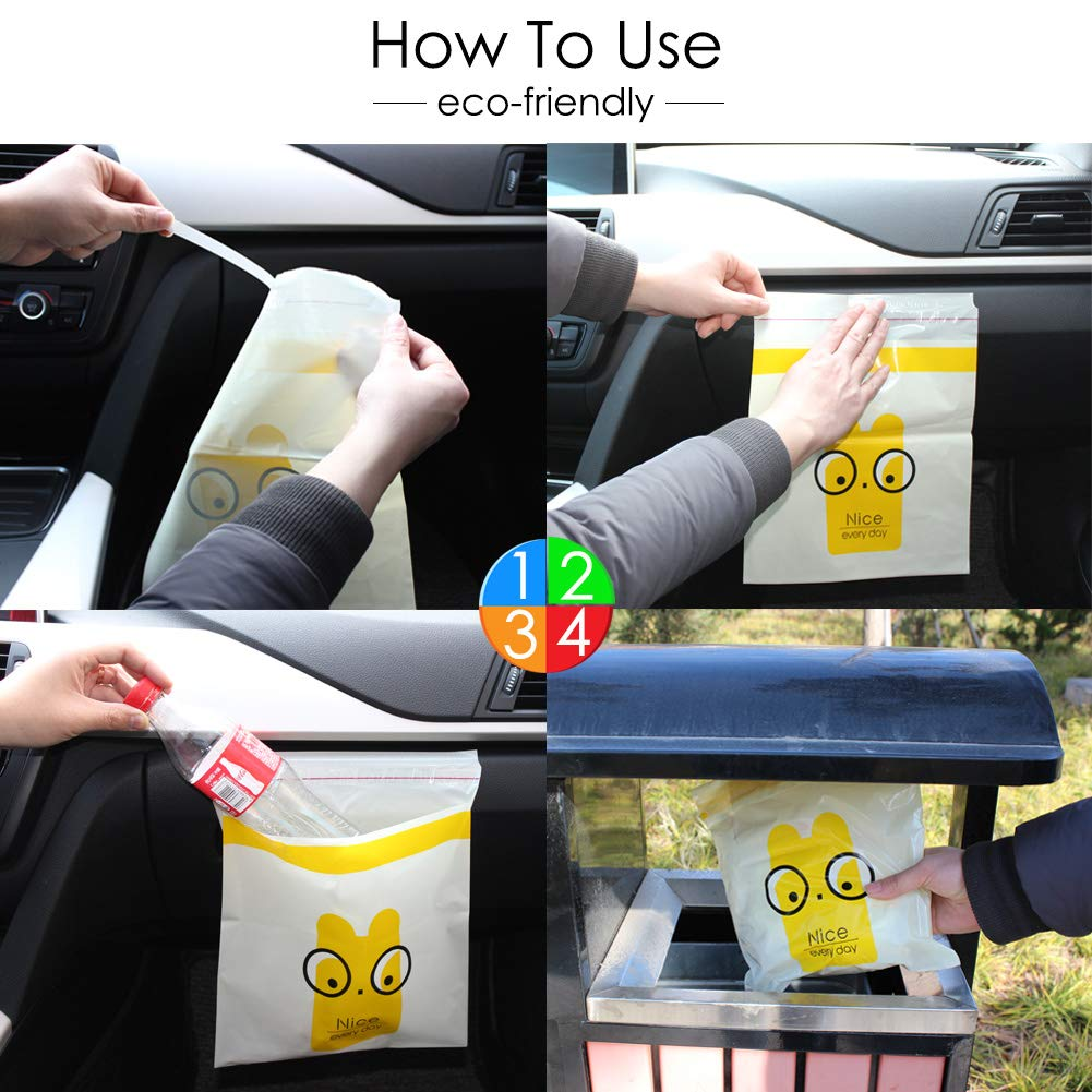 30pcs Car Garbage Bag Leak Proof Portable Convenient Trash Bags For Auto Vehicle Office Kitchen Bathroom Study Room Disposable Stick To Anywhere