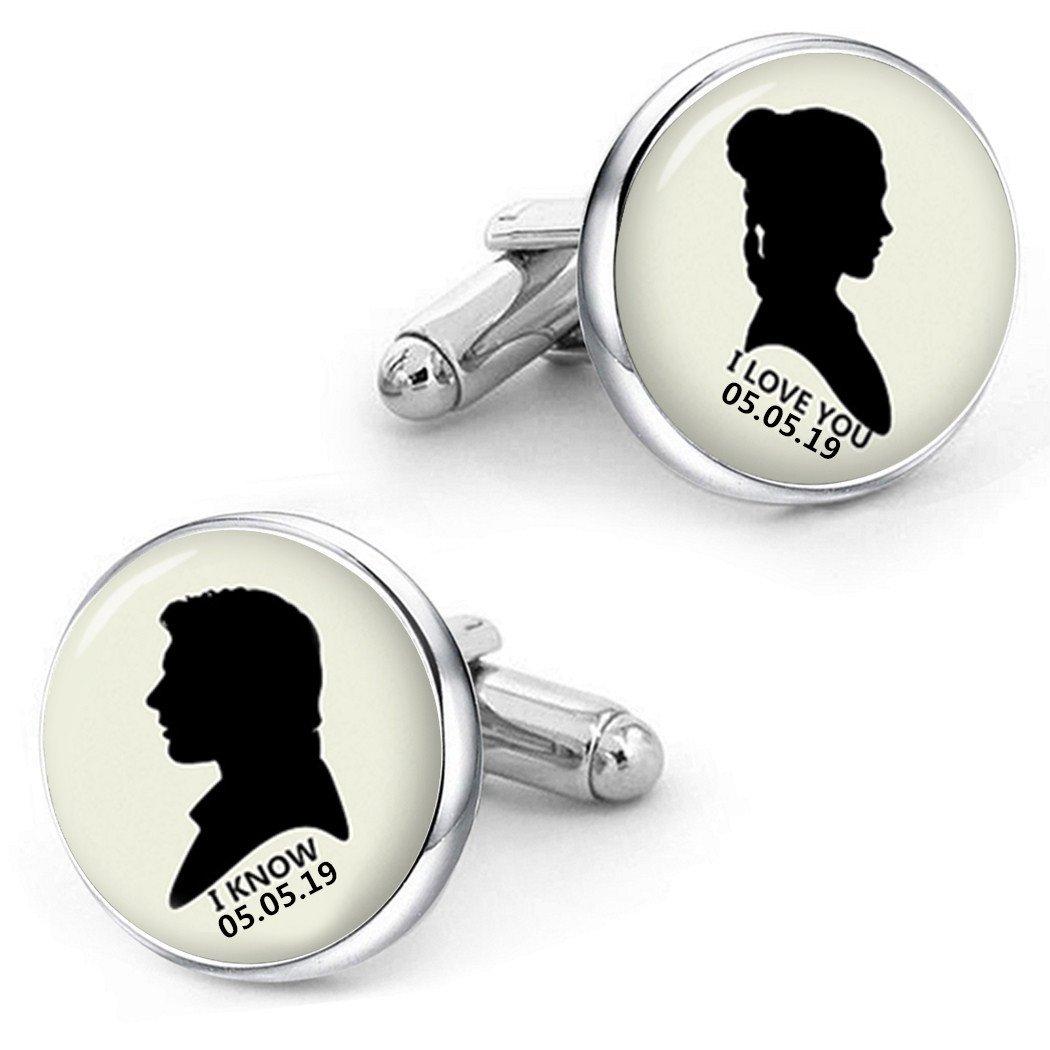 Kooer I Love You I Know Cufflinks For Star Wars Style Custom Personalized Wedding Cuff Links Jewelry (silver plated cufflinks)