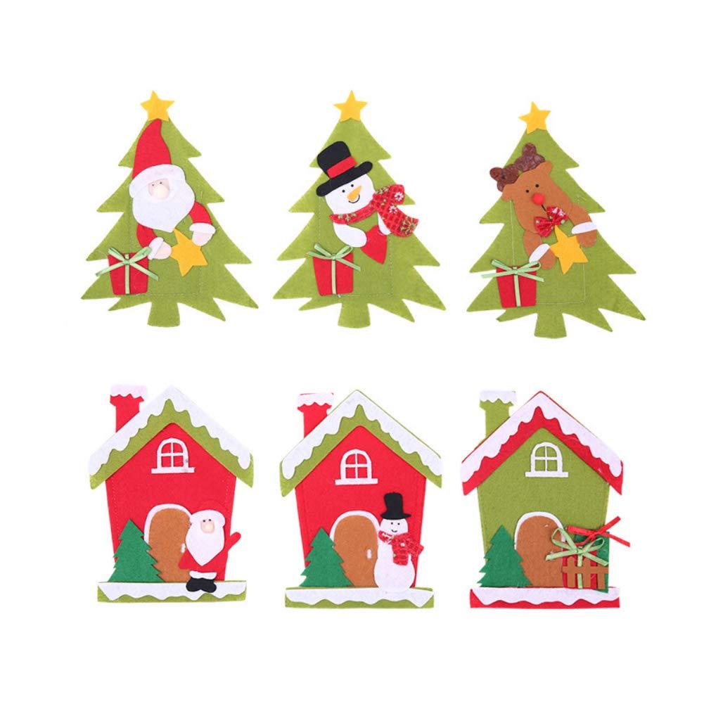 CHoppyWAVE Cutlery Pouch, Christmas Tree House Santa Elk Snowman Xmas Dinner Table Decor Spoon Knife Pouch - 4# by CHoppyWAVE (Image #2)