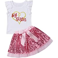 Two Piece Big Sister Little Sister Outfit Short Sleeve Ruffle Tshirt Top And Sequins Pink Bow Skirt Clothes