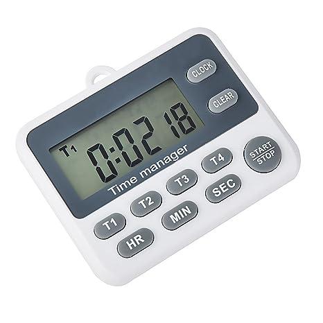 Digital 4 canal grupos Count Down Hasta temporizador con reloj Para Escuela de cocina reunión laboratorio