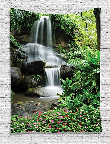 Ambesonne Waterfall Decor Collection, Waterfall Pond Flowers and Tropical Plants in Garden Pattern, Bedroom Living Kids Girls Boys Room Dorm Accessories Wall Hanging Tapestry, Green Pink (Big Top Pond Cover)