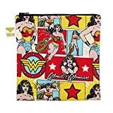 Bumkins DC Comics Wonder Woman Sandwich Bag / Snack Bag, Reusable, Washable, Food Safe, BPA Free, 7x7 , Pack of 1