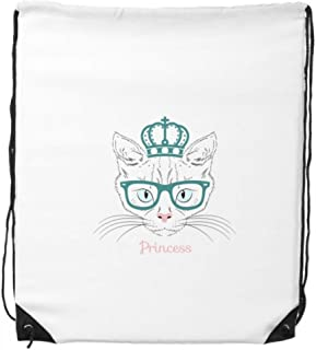 Couronne Lunettes de soleil Chat Blanc Princesse protéger Animal Pet Lover Cordon de serrage Sac à dos lignes fines Shopping Creative Cadeau de sac à main bandoulière l'environnement Sac en polyester