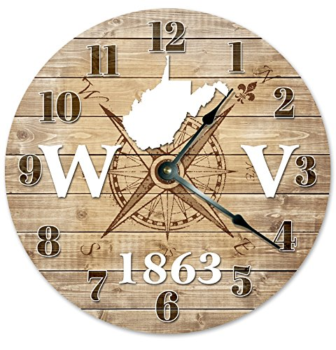 WEST VIRGINIA Established in 1863 Decorative Round Wall Clock Home Decor Large 10.5