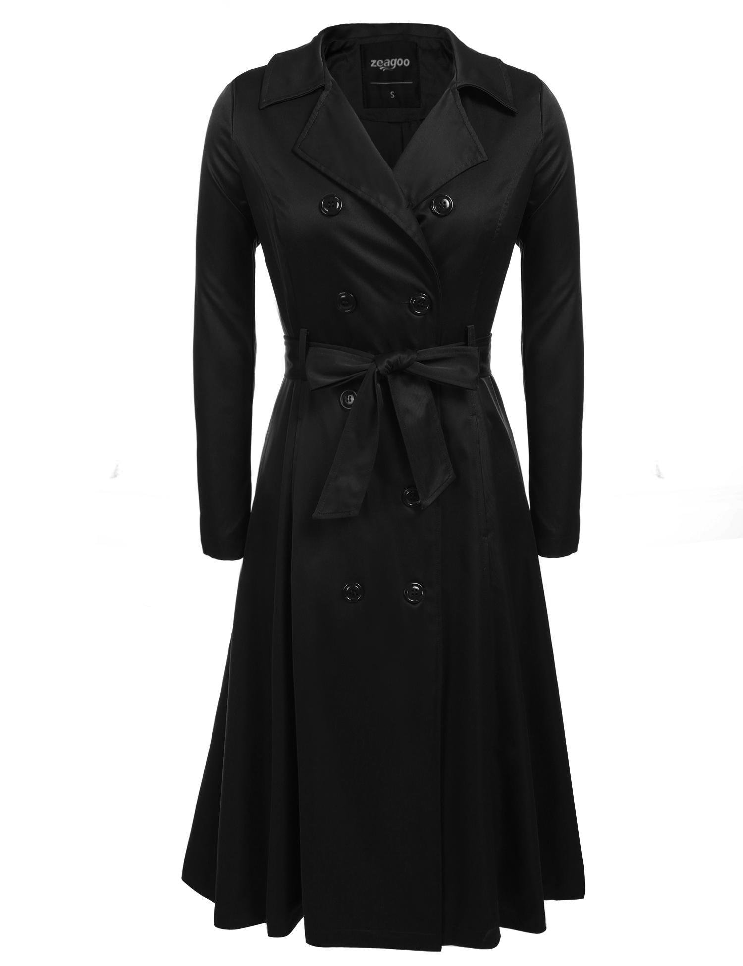 Zeagoo Women's British Style Elegant Jacket Double Breasted Slim Long Trench Coat,Black,X-Large
