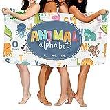 PengMin Animal Alphabet Premium 100% Polyester Large Bath Towel, Pool And Bath Towel (80'' X 130'') Natural, Soft, Quick Drying