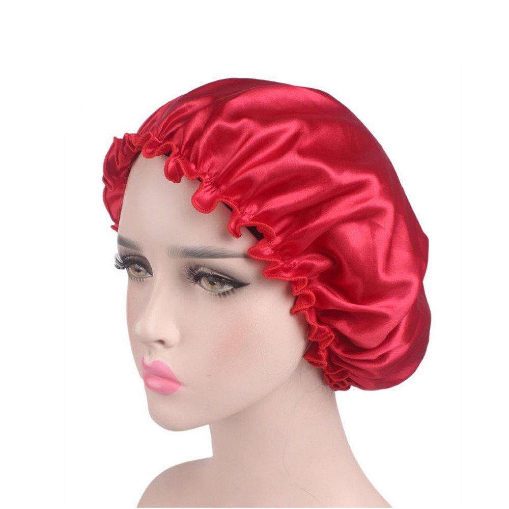 Bonnet de Nuit Turban Foulard Islamique en Satin Femme Chapeau Doux Chapeau de beaut/é Rouge Chapeau Bonnet de Nuit Sommeil Femme en Satin Coiffure Soin Cheveux