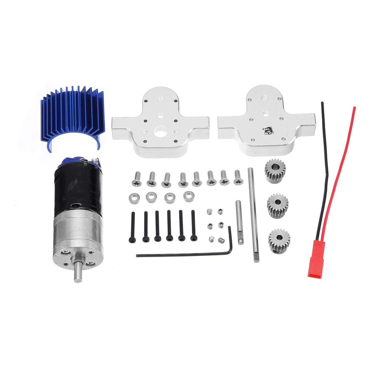 BeesClover Metal Transfer Gearbox 370 Motor for WPL B-24 B16 B36 C24 1/16 4WD 6WD RC Car Case Silver Metal Transfer case with 370 Motor