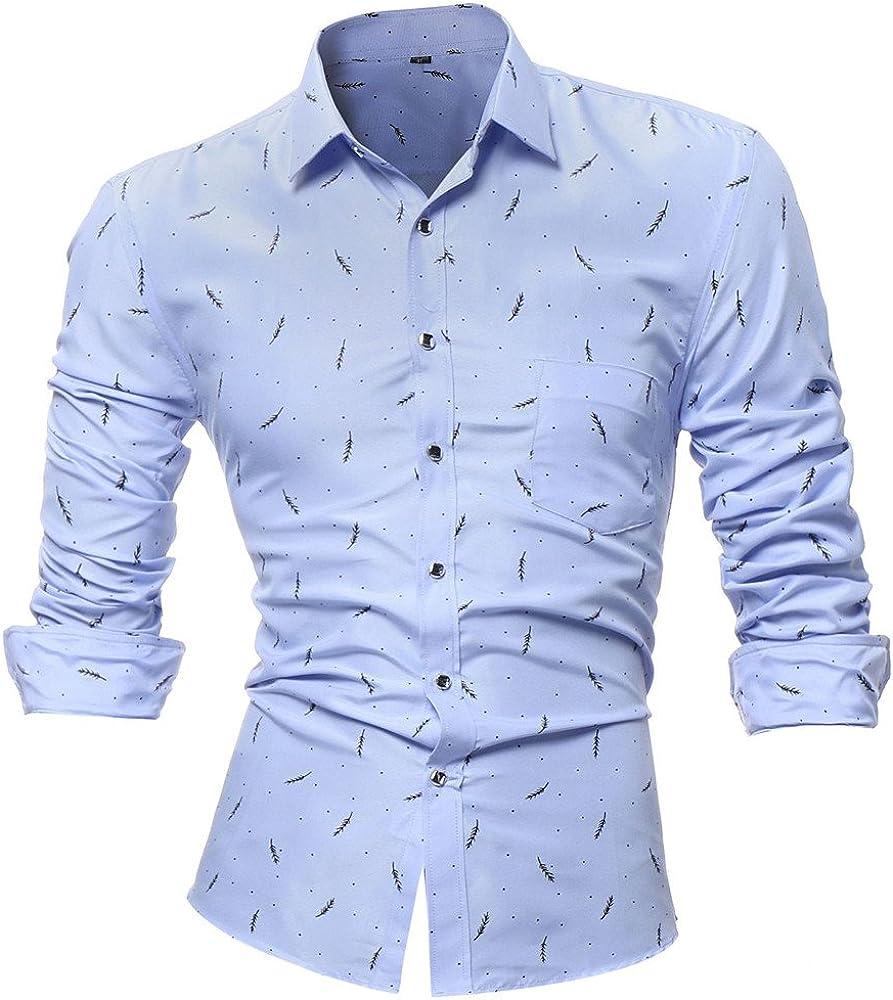 L,White/ Men Tops Blouses Hot WEUIE Personality Mens Printed Casual Slim Long Sleeve Printed Shirt Top Blouse