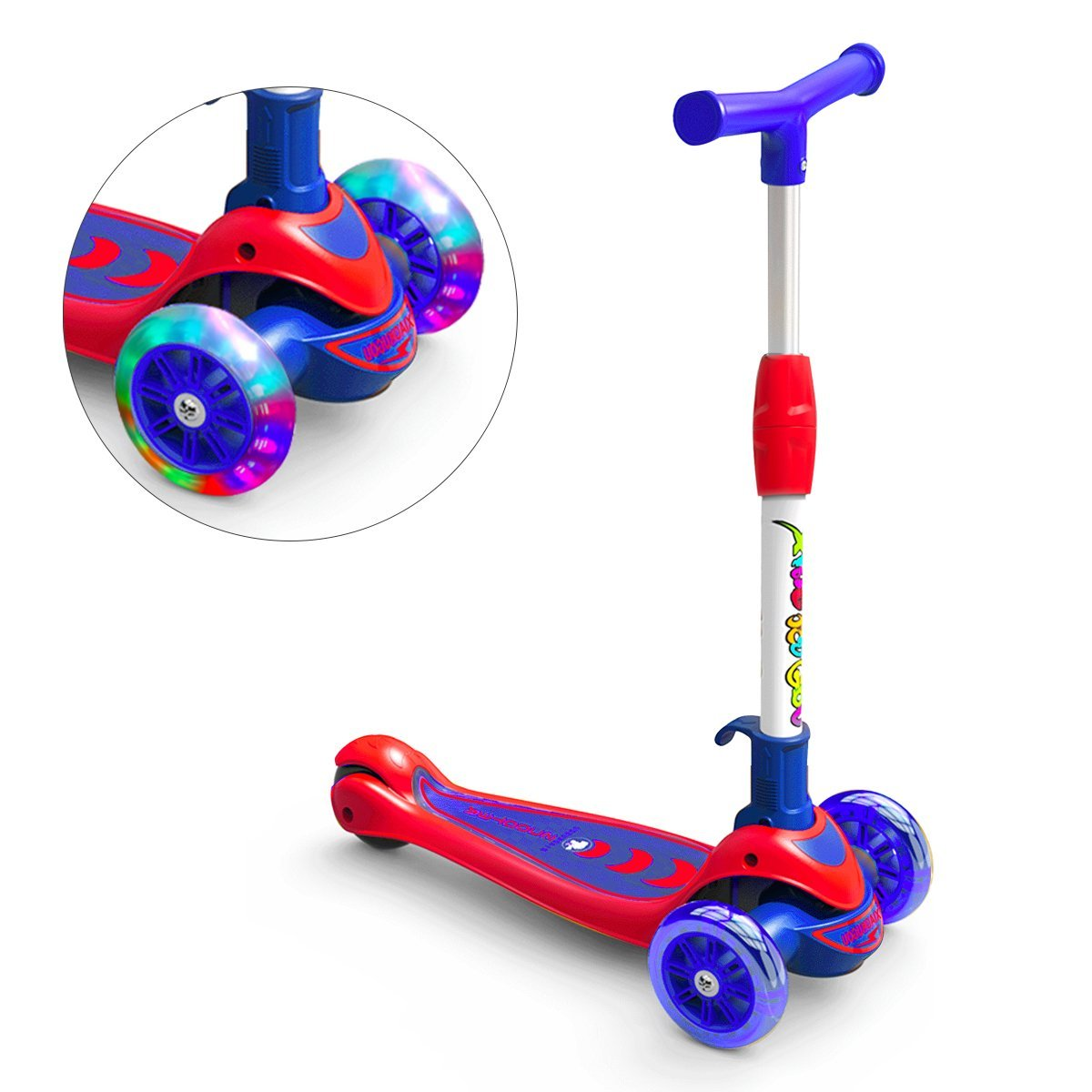 Greentest Scooter Foldable and Adjustable Height Lean to Steer 3 Wheel Scooters for Toddler Kids Boys Girls Age 3-8 (Blue)