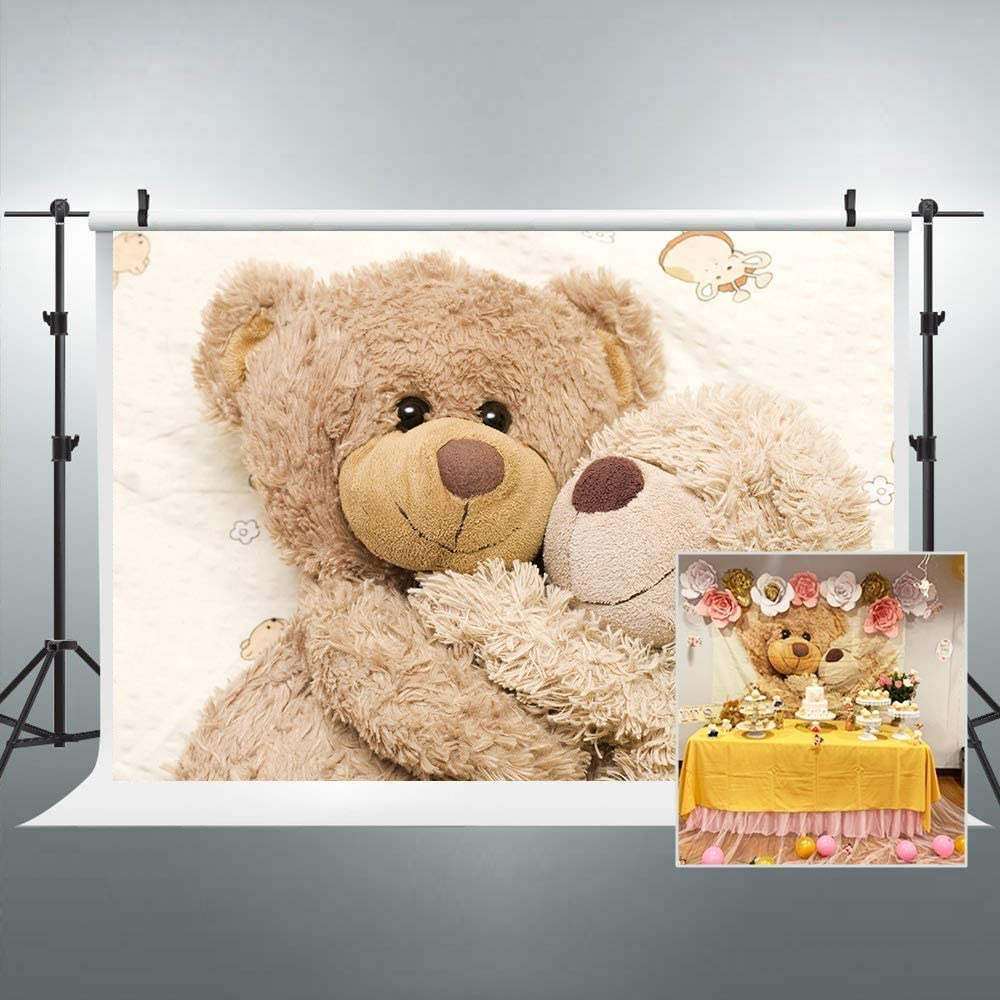 Riyidecor Teddy Bear Backdrop Cute Cartoon Funny Doll Toys Brown Kids 5Wx3H Feet Happy Warm Cuddle Lovely Plush Photography Backgrounds Photo Shoot Party Birthday Decor Props Photo Shoot