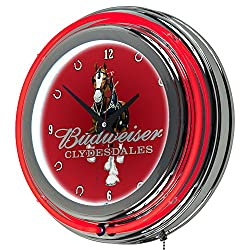 Trademark Gameroom AB1400-CLY-R Budweiser Chrome Double Rung Neon Clock - Clydesdale Red