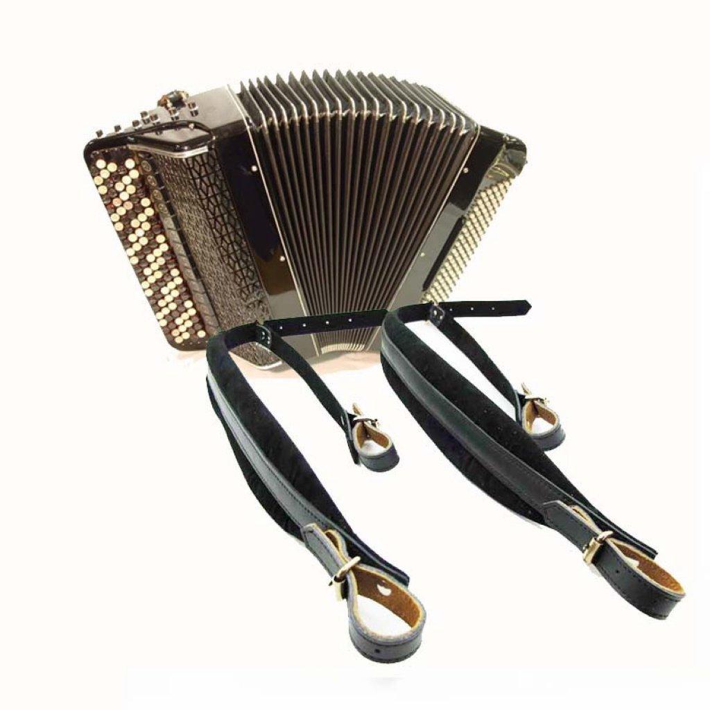 Musique Première Sangle en cuir véritable Accordéon rembourrée confortable bandoulière Instruments Accordéon en cuir ceinture d'épaule MUSIC FIRST WSDADS-003