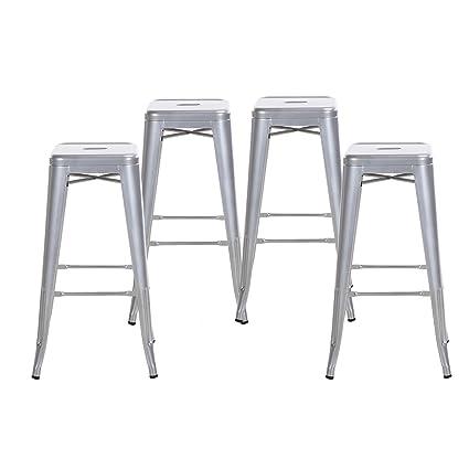Awesome Amazon Com Buschman Set Four Gray 30 Inches Bar Height Inzonedesignstudio Interior Chair Design Inzonedesignstudiocom