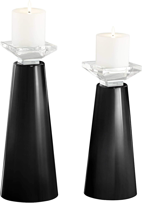 Color Plus Meghan Tricorn Black Glass Pillar Candle Holder Set of 2