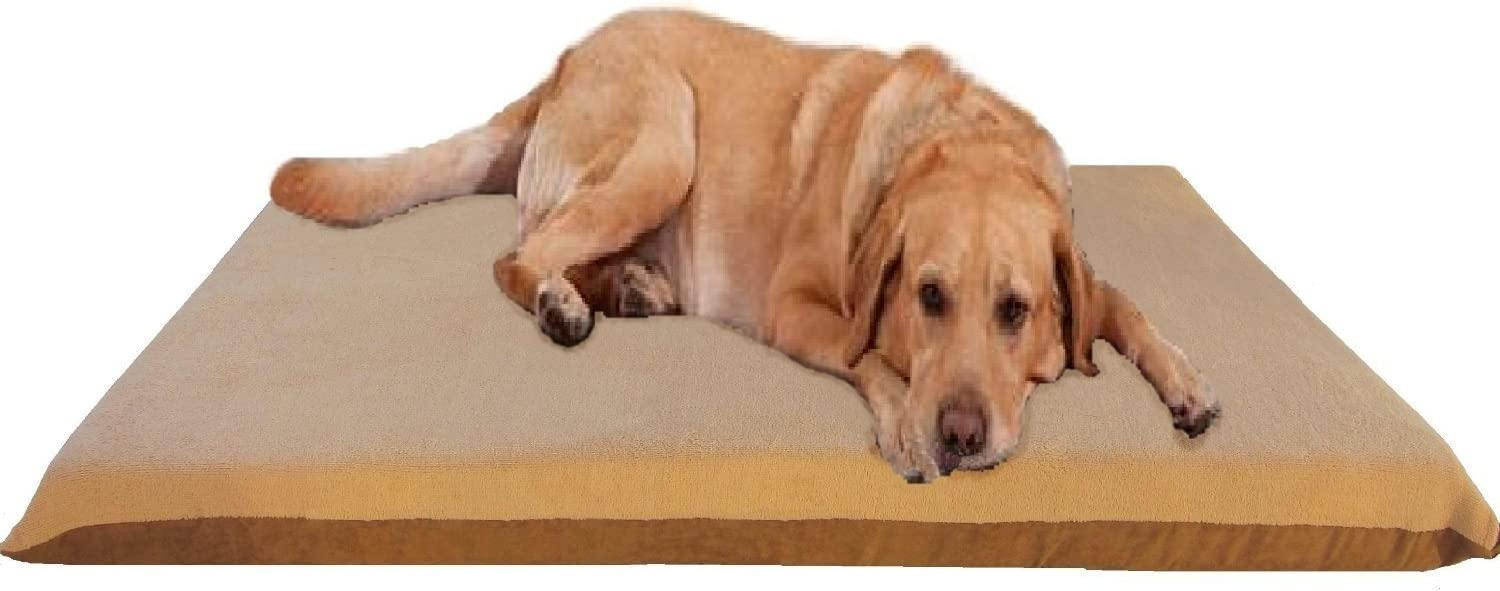 """ehomegoods 47""""X29""""X4"""" Beige Color Orthopedic Waterproof Memory Foam Pet Bed Pad for Extra Large Dog Crate Size 48""""X30"""" with 2 External Covers"""