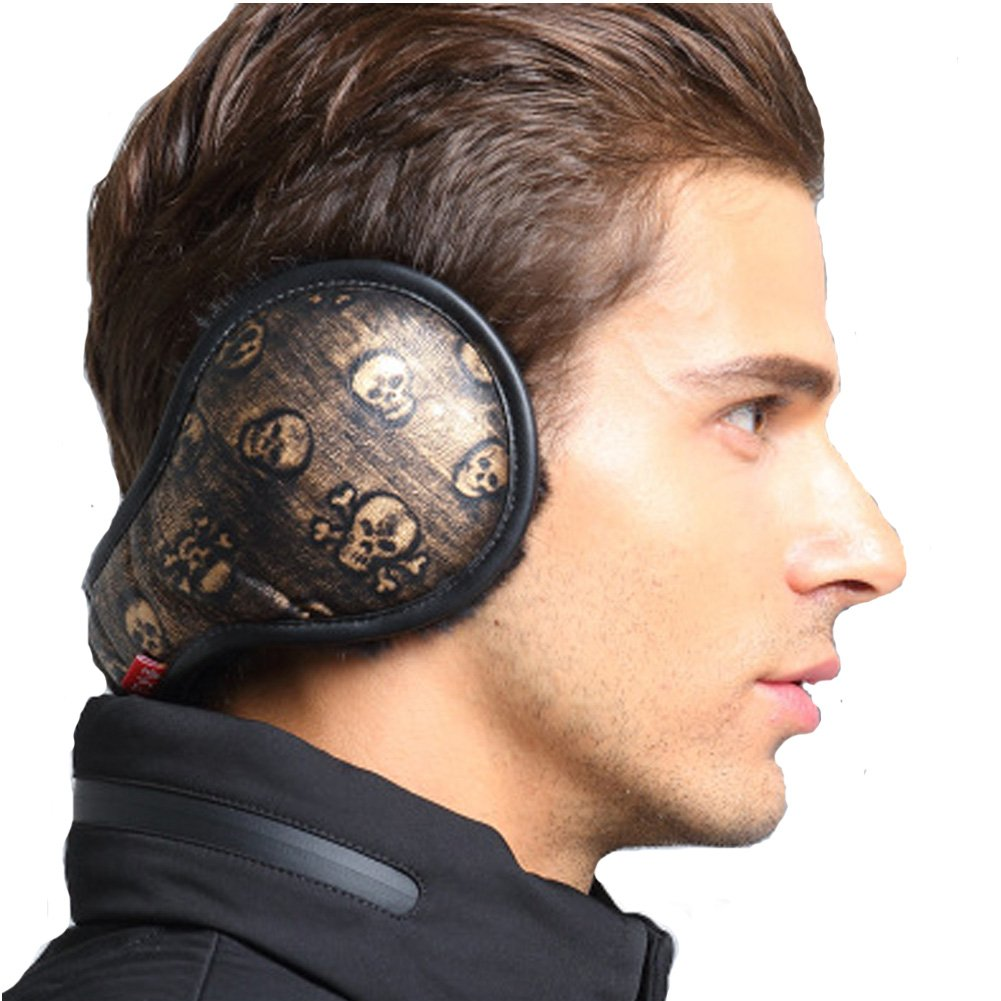 Neaer Winter Earmuffs Foldable Ear Warmers Plaid Plush Ear Muff Adjustable PU Leather Earcap Back Wear Ear Cover