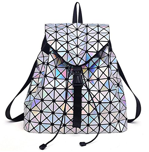 Lattice Large Lattice Bags Bag Backpack Lattice Geometric T020 Teenage Noctilucent for Backpack Leather Diamond Mochila Travel Luminous Girls WRHBPqP