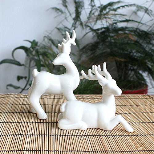 Toonol Abstract Art European American White Ceramic Deer Creative Small Decor Ornament,#2