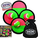 Matty's Toy Stop Deluxe Toss & Catch (Hook & Loop) Paddle Game Set with 4 Paddles, 3 Balls & Storage Bag