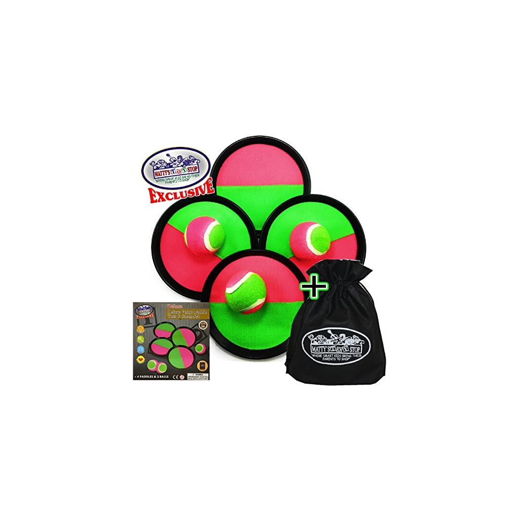 Paddle Game Set with 4 Paddles Hook /& Loop Mattys Toy Stop Deluxe Toss /& Catch 3 Balls /& Storage Bag Homeware
