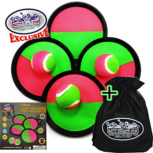 Catch Ball Set - Matty's Toy Stop Deluxe Toss & Catch (Hook & Loop) Paddle Game Set with 4 Paddles, 3 Balls & Storage Bag