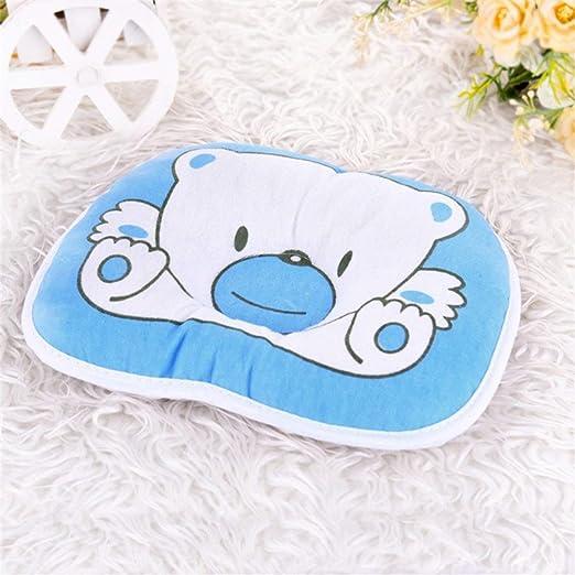 blau Biyi sch/öne nette b/är cartoon muster kissen neugeborenen baby unterst/ützung kissen pad verhindern flachkopf baumwolle kissen f/ür baby