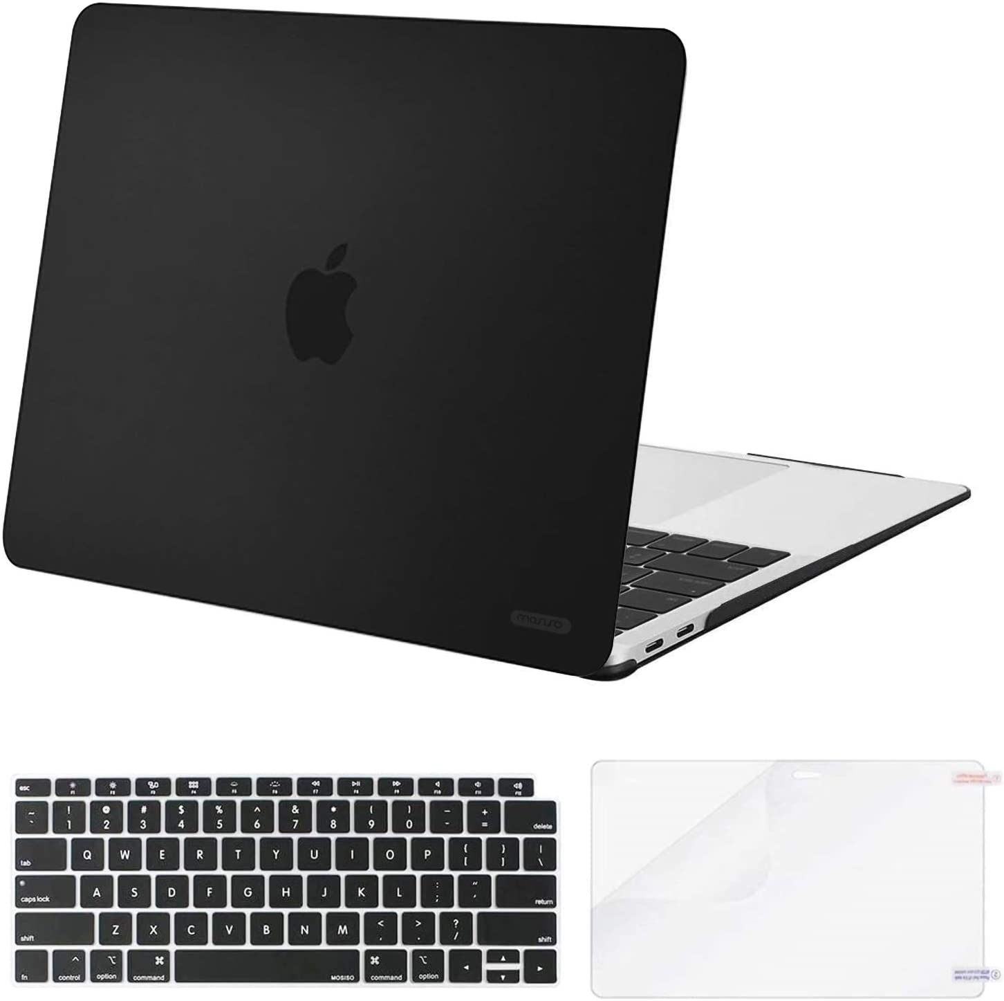MOSISO MacBook Air 13 inch Case 2020 2019 2018 Release A2179 A1932, Corner Protective Plastic Hard Shell&Keyboard Cover&Screen Protector Compatible with MacBook Air 13 inch Retina Display, Black