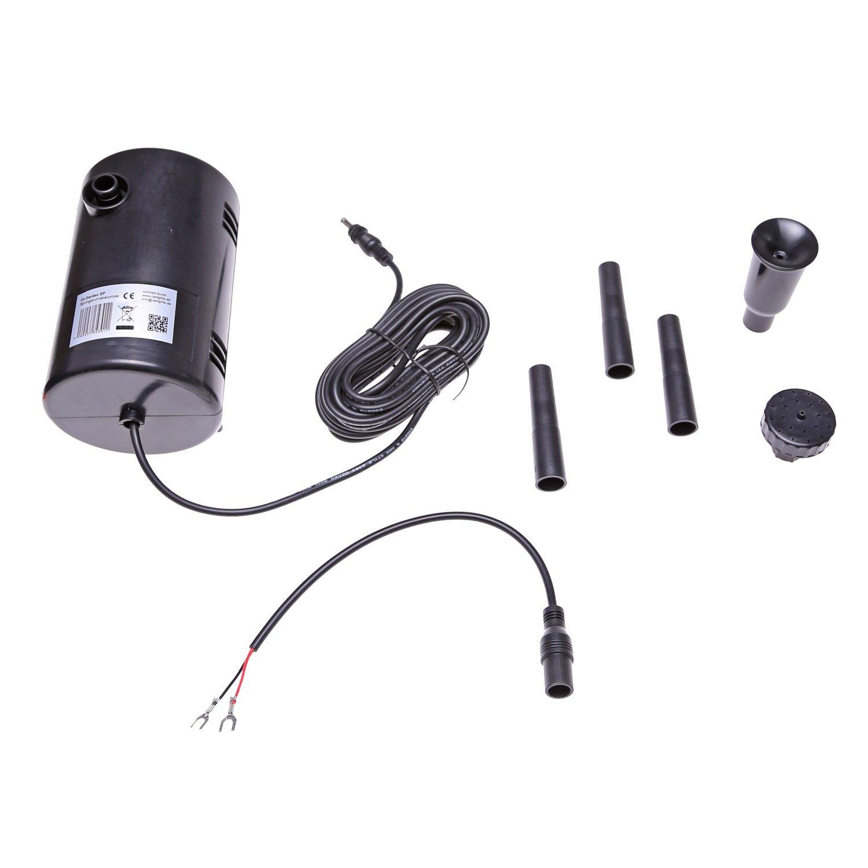 Pompa solare sommergibile SP4 per il funzionamento a un pannello solare una batteria 12V o un Alimentatore, max. portata d'acqua 800 litri/ora, per gioco d'acqua, Laghetto, Stagno per gioco d' acqua CLGarden