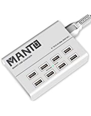 Manto USB Charger Station 8-port Fast Smart Desktop Charger for Multiple Devices with 4 feet UK Power Cord Plug, White